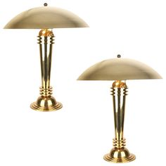 Pair of Very Large Brass Art Deco Modernist Table Lamps  | From a unique collection of antique and modern table lamps at https://www.1stdibs.com/furniture/lighting/table-lamps/