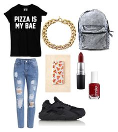 """""""Pizza is bæ ❤️"""" by puckros ❤ liked on Polyvore featuring NIKE, Michael Kors, MAC Cosmetics and Essie"""