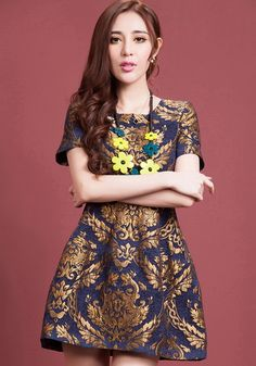 Golden Floral Embroidery Short Sleeve Dress