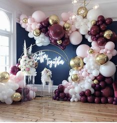 The Backdrop is gorgeous 💯💯🙌🏾🙌🏾 Cc: Double Hoop Backdrop & Plinths Balloons Neon Sign Fresh Florals Venue . Birthday Balloon Decorations, Baby Shower Decorations, Wedding Decorations, Balloons Galore, Wedding Balloons, Partys, Balloon Garland, Event Decor, Party Themes