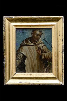 St. Bruno of Cologne; Founder of Carthusian Order in 1084. Patron Saint of Calabria. Reverse Painting on Glass