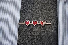 Legend of Zelda: Pixel Hearts Tie Clip - MAKE TO ORDER. $23.00, via Etsy.