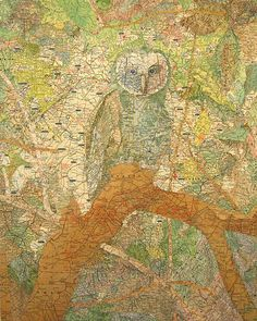 Collage artist who uses maps.  Matthew-Cusick_210, Patriarch (original), 2006 by drollgirl, via Flickr