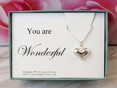 You are wonderful Sterling Silver Heart necklace by SilverStamped