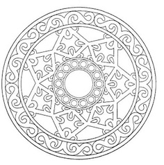 Mandala - pretty design to paint on a round paver (or stone). Other mandalas on source site also