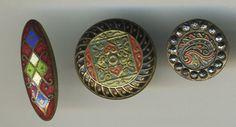 3 Pretty Red Enamel Cloisonne Cut Steel Brass Vintage Floral Buttons | eBay