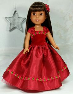 Wellie Wisher Fancy Holiday Christmas Ball Gown Dress, American Made to Fit 14 1/2 Inch Girl Dolls
