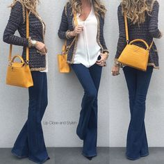Yesterday -  #Chanel cardigan, #Vince top, #Rag_Bone flared jeans and #LouisVuitton bag.