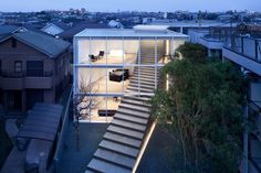 March 2020 Photography by Daici Ano Architecture firm Nendo has designed a minimalist house in a quiet residential area of Tokyo, that has stairs traveling from the exterior to Tokyo Architecture, Stairs Architecture, Minimalist Architecture, Architecture Interiors, House Interiors, Architecture Design, House Tokyo, Outdoor Greenhouse, Outdoor Steps