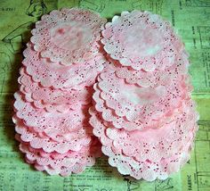 Vintage themed ephemera such as doilies, napkins, cake boxes, ribbon and Paper Lace Doilies, Vintage Ephemera, Baby Decor, Unique Colors, Pink Color, Color Mixing, Peonies, Vintage Inspired, Paper Crafts