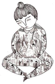 Ladies in ladies, ink on paper, 2013