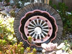 Plate Flower. #326 Drought Resistant.     Garden Yard Art glass and ceramic plate flower