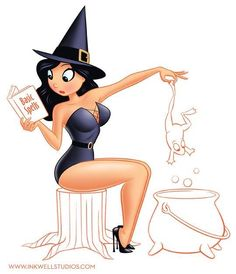 Halloween Drawings, Halloween Artwork, Halloween Pin Up, Halloween Quotes, Which Witch, Sexy Cartoons, Fantasy Witch, Witch Art, Fantasy Art