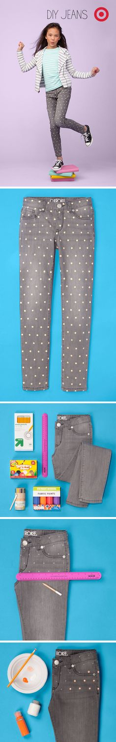 A polka dot pattern made by hand with fabric paint sends kids to school with a cool DIY look.
