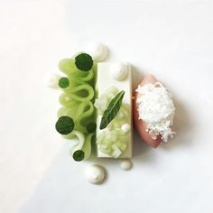 Melon carpaccio, feta cheese, cremeux, and watermelon sorbet by @jiho_kim_pastry @themodernnyc #TheArtOfPlating