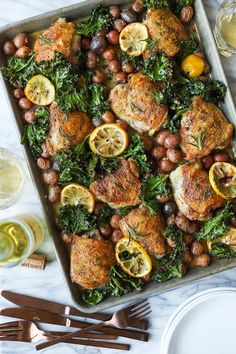 Crispy juicy chicken thighs with tender baby potatoes and crisped kale. So hearty so good so easy! Chicken Potatoes, Baby Potatoes, Lemon Rosemary Chicken, Sheet Pan Suppers, Supper Recipes, Chicken Seasoning, Snacks, Chicken Thighs, Carne