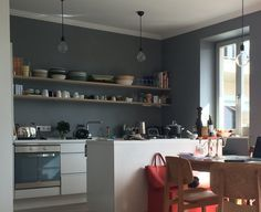 kitchen painted in farrow ball plummett berlin interiors pinterest. Black Bedroom Furniture Sets. Home Design Ideas