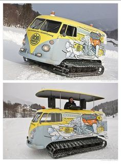 STRANGE SKI LODGE EQUIPMENT - SNO-TRACKER VAN DOUBLES AR SLOPE GROOMER AND OBSERVATION PLATFORM FOR EVENTS!