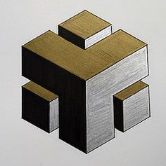 Carved cube detail (Karen Cattoire) Tags: abstract black silver gold 3d drawing geometry cube marker visual artjournal opart abstrait hexahedron zentangle metatronscube karencattoire