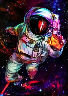 'Deep Colour Astronaut' Art Print by Showstroop Art – Mhdrawing - Space Space Artwork, Space Drawings, Space Painting, Wallpaper Space, Galaxy Painting, Galaxy Art, Galaxy Wallpaper, Cool Artwork, Astronaut Tattoo