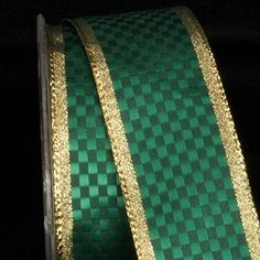"""Emerald Green and Gold Woven Check Jacquard Design Wired Craft Ribbon 1.5"""" x 27 Yards * Check this awesome product by going to the link at the image."""