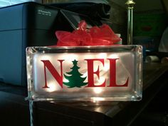 Glass & Window Projects - My Vinyl Designer - Picasa Web Albums Painted Glass Blocks, Decorative Glass Blocks, Lighted Glass Blocks, Christmas Glass Blocks, Christmas Projects, Christmas Ideas, Xmas, Christmas Stuff, Christmas 2019
