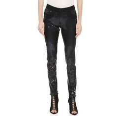 Vera Wang Collection Sequined Skinny Pants (2 522 680 LBP) ❤ liked on Polyvore featuring pants, black, skinny pants, skinny trousers, vera wang, black slim fit pants en zipper pants