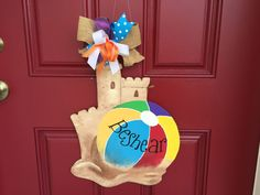 Wooden sandcastle and beachball, door decoration, beach decoration, custom door decoration, sale by BoogieBoardCreations on Etsy https://www.etsy.com/listing/266692668/wooden-sandcastle-and-beachball-door