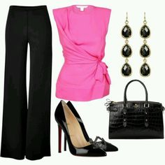 Work outfit. Love the pink!