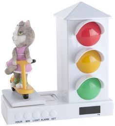 Its About Time Stoplight Sleep Enhancing Clock, Miss Kitty Riding a Scooter by It's About Time. $39.99. The stoplight sleep enhancing clock is a fun and simple way for toddlers to answer their own question, is it time to get up. At a young age, toddlers know their colors and understand that red means stop and green means go. The stoplight sleep enhancing clock features a friendly, beautifully-crafted sculpted figure next to a stoplight. The stoplight features red and green light...