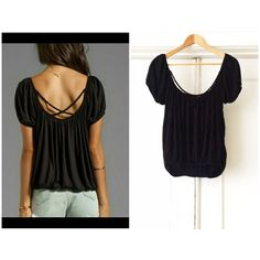 || Free People || Gypsy Top Black Free People gypsy top with lace panel in front and criss cross braid detailing in back. Cinches at hem and can be worn as modeled in the photos or as more of a crop top! Sleeves can be worn on or off the shoulders. A simple, yet versatile piece! Free People Tops
