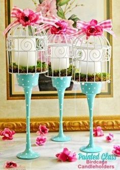 Start with Dollar Store glass candleholders to make your own