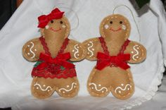 Gingerbread Boy and Girl Handsewn Felt Christmas by BagsSewCute, $12.50