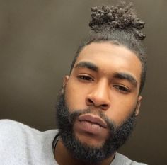 Black people have naturally curly hair. so, almost every black man bun refers to a curly black man bun. styling curly hair is tough, but it is try-worthy as Black Men Hairstyles, Afro Hairstyles, Man Bun Haircut, Braided Man Bun, Curly Hair Styles, Natural Hair Styles, Beard Styles For Men, Beard Love, Beard Gang