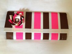 Brown, White and Pink Ladies Duct Tape Wallet.