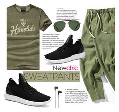 """Newchic #19"" by sandralalala ❤ liked on Polyvore featuring Gucci, B&O Play, men's fashion, menswear, sweatpants and newchic"