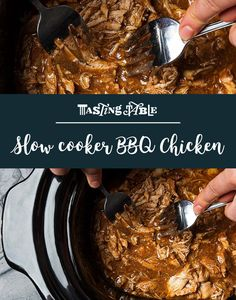 tender no-fuss barbecue chicken is toss together a few ingredients in a slow cooker, set to low, shred, serve over bread and enjoy. Meat Recipes, Slow Cooker Recipes, Crockpot Recipes, Chicken Recipes, Cooking Recipes, Recipies, Bbq Chicken Thighs, Barbecue Chicken, Quick And Easy Breakfast