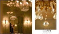 Engagement sessions- elegant couple embracing in elegant hotel lobby with crystal chandelier. Elizabeth Etienne Photography, Direction & Design. www.eephoto.com