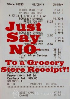 Just Say No - to a Grocery Store Receipt?! -- How what you don't know might be hurting you and your family  -- Titus 2 Homemaker #t2hmkr #health