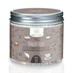 Tee - tee-werk Nacht Eule SchwarzTee schwarzer Tee Minze - ein Designerstück von tee-werk-de bei DaWanda