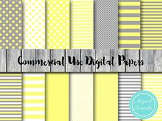 Yellow and Gray Digital Papers Commercial Use by MagicalStudio