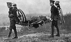 WWI, 1916 Bicycle is temporarily converted into a makeshift stretcher. ©Mary Evans Picture Library