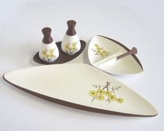 Vintage Carlton Ware Hand Painted Mimosa Table Ware Set: Salt and Pepper, Divided Butter Dish and Spreader, Sandwich Tray