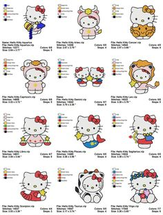 Hello Kitty Zodiac - 12  Embroidery designs. Reminds me of @Kristen Elkington and @Sarah Hans...