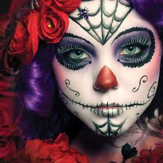 Day of the Dead Spider Sugar Skull Makeup Kit Create a Spider Sugar Skull Character with this makeup kit. Contains cream makeup, eyelashes and a press-on jewel spider, sponge and pencil. Easy to use directions included on packaging.