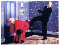 Father Ted: Kicking Bishop Brennan up the arse. British Tv Comedies, British Comedy, Still Game, Vicar Of Dibley, Father Ted, British Humor, Uk Tv, Comedy Tv, Funny People
