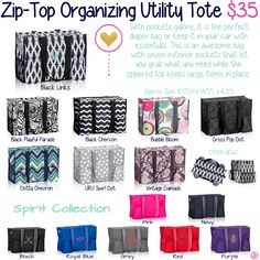Zip-Top Organizing Utility Tote by Thirty-One. Fall/Winter 2015. Click to order. Join my VIP Facebook Page at https://www.facebook.com/groups/1603655576518592/