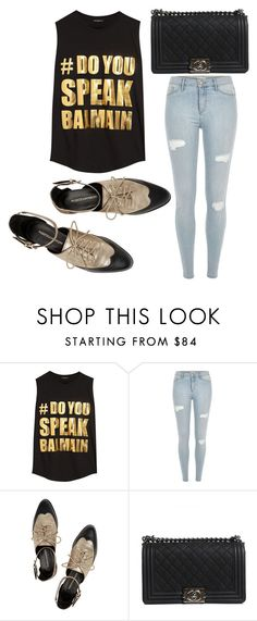 """""""Untitled #2791"""" by evalentina92 ❤ liked on Polyvore featuring Balmain, River Island, Rebecca Minkoff and Chanel"""