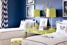 Lime + navy such a fresh color combination for a kids room