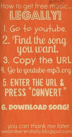 Free MP3s from YouTube ~~ I tried this with several songs and it works fine.  No Gimmicks.  LEGIT!